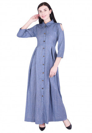 Solid Color Linen Dress in Blue