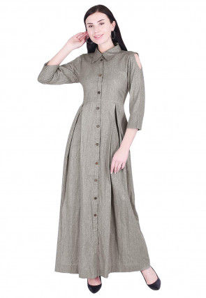 Solid Color Linen Dress in Grey