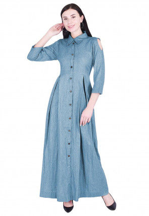 Solid Color Linen Dress in Light Blue