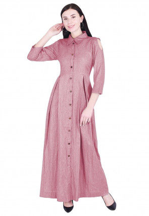 Solid Color Linen Dress in Pink