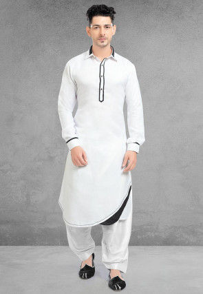 Solid Color Linen Kurta Set in White