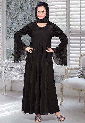 Solid Color Lycra Abaya in Black