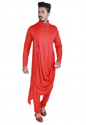 Solid Color Lycra Cotton Kurta Set in Coral Red