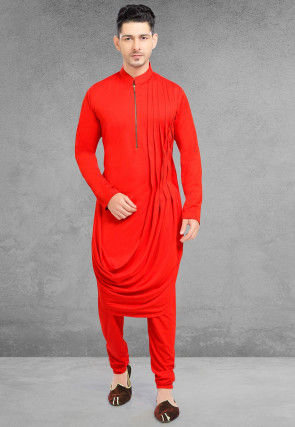 Solid Color Lycra Cowl Style Kurta Set in Coral Red