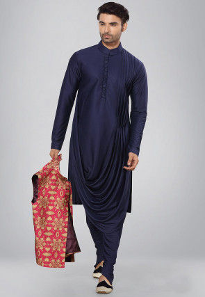 Solid Color Lycra Cowl Style Kurta Set in Navy Blue
