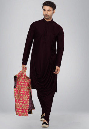 Solid Color Lycra Cowl Style Kurta Set in Wine