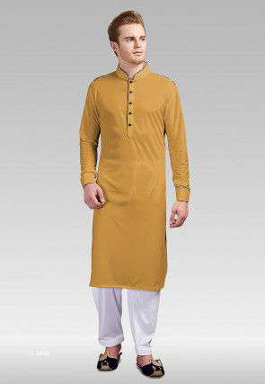 Solid Color Satin Kurta Set in Light Mustard