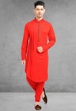 Solid Color Lycra Kurta Set in Red