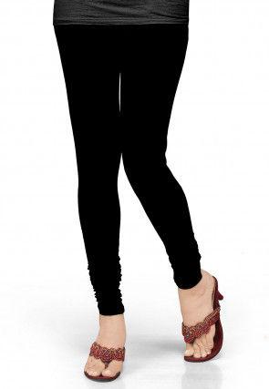 Solid Color Lycra Leggings in Black
