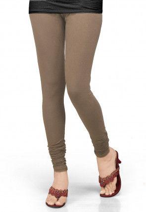Solid Color Lycra Leggings in Dark Beige