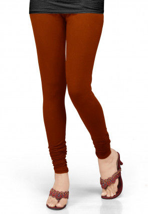 Solid Color Lycra Leggings in Dark Rust