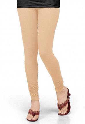 Solid Color Lycra Leggings in Light Beige