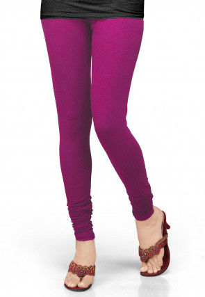 Solid Color Lycra Leggings in Magenta