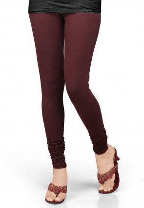 Solid Color Lycra Leggings in Maroon