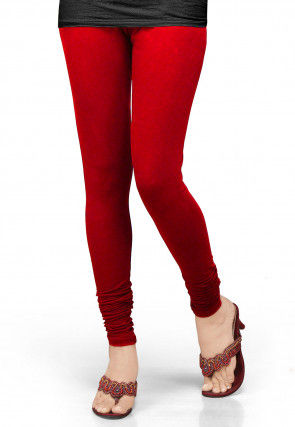Solid Color Lycra Leggings in Red