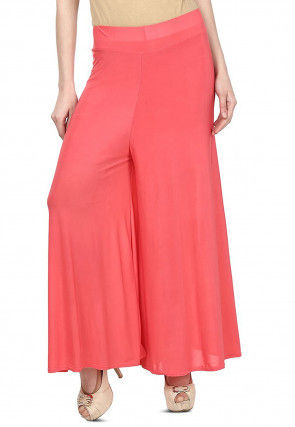 Solid Color Lycra Palazzo in Dark Peach