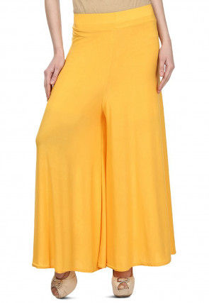 Solid Color Lycra Palazzo in Yellow