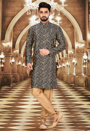 Solid Color Lycra Sherwani in Black and Beige