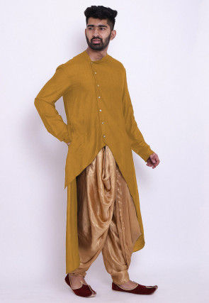 Solid Color Matka Silk Asymmetric Dhoti Kurta in Old Gold