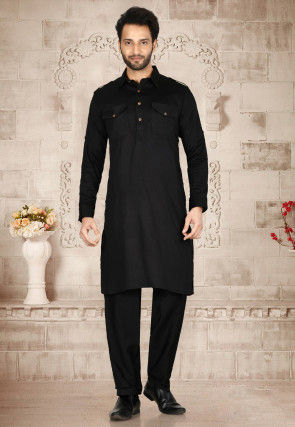 Solid Color Muslin Cotton Paithani Suit in Black