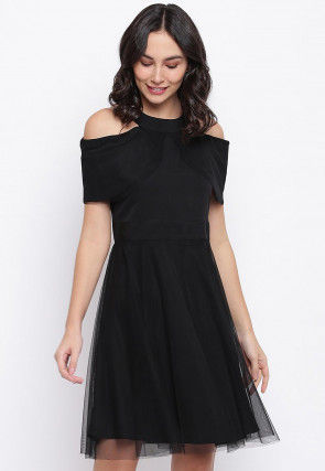 Solid Color Net Fit N Flare Tulle Dress in Black