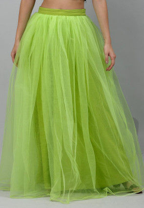 Solid Color Net Flared Skirt in Light Green