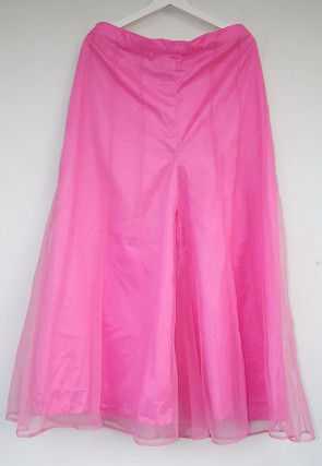 Solid Color Net Panelled palazzo in Pink