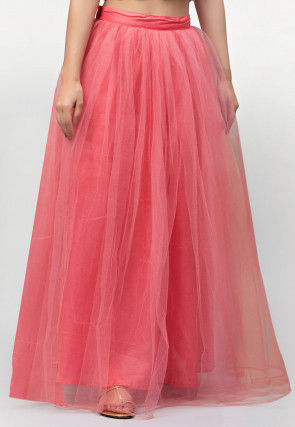 Solid Color Net Skirt in Peach