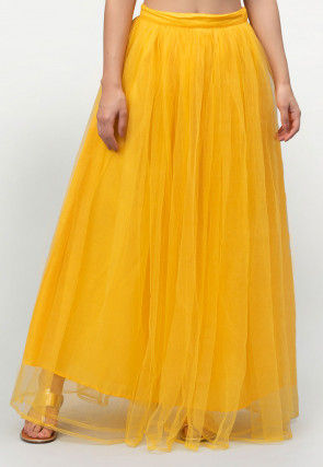 Solid Color Net Skirt in Yellow