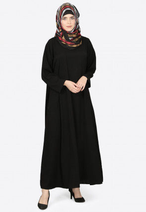 Solid Color Nida Abaya in Black