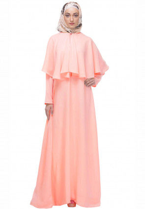 Solid Color Nida Cape Style Abaya in Light Peach