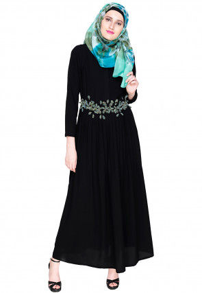 Solid Color Nida Closed Dubai Style Abaya in Black with Embroidered Belt