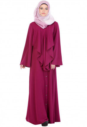 Solid Color Nida Front Open Abaya in Fuchsia