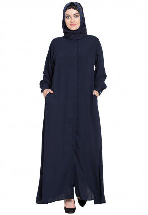 Solid Color Nida Front Open Abaya in Navy Blue