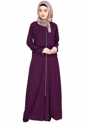 Solid Color Nida Front Zipper Open Abaya in Purple