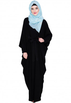 Solid Color Nida Kaftan in Black
