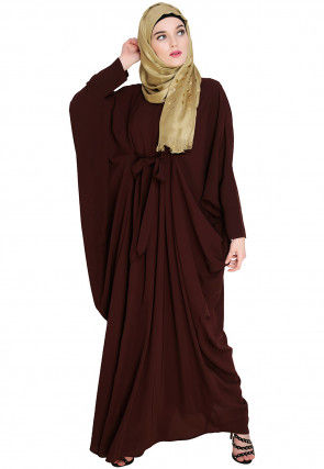 Solid Color Nida Kaftan in Brown