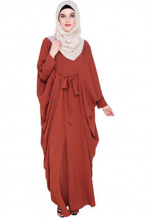 Solid Color Nida Kaftan in Rust
