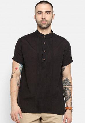 Solid Color Pintucked Cotton Short Kurta in Black