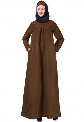 Solid Color Polyester Abaya in Dark Brown