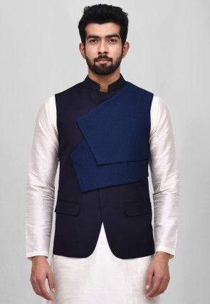 Solid Color Polyester Nehru Jacket in Navy Blue