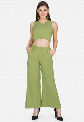 Solid Color Polyester Crop Top Set in Light Green