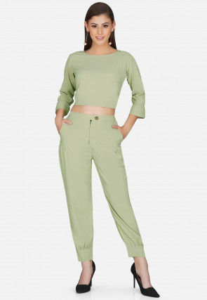 Solid Color Polyester Crop Top Set in Pastel Green