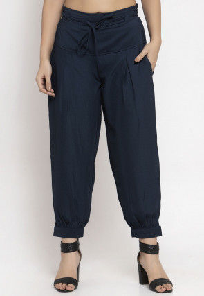 Solid Color Polyester Cropped Joggers Pant in Navy Blue