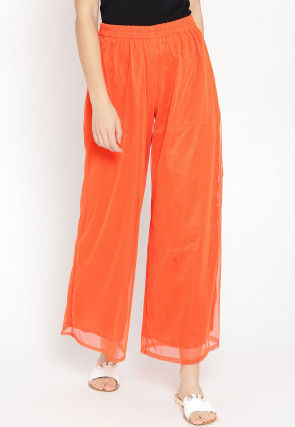 Solid Color Polyester Palazzo in Orange