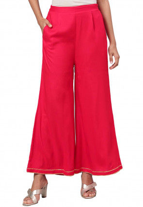 Solid Color Polyester Palazzo in Red