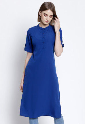 Solid Color Polyester Straight Kurta in Blue