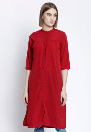 Solid Color Polyester Straight Kurta in Maroon