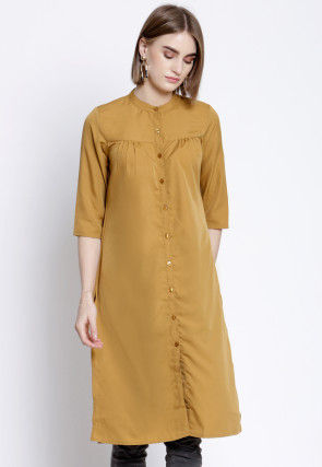 Solid Color Polyester Straight Kurta in Mustard