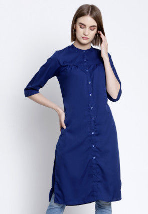 Solid Color Polyester Straight Kurta in Navy Blue